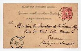 - CORRESPONDENZ-KARTE WIEN (Autriche) Pour TOURNAI (Belgique) 24.6.1889 - - Entiers Postaux