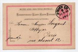 - CORRESPONDENZ-KARTE WIEN (Autriche) Pour PARIS (Franceà 15.9.1900 - - Entiers Postaux