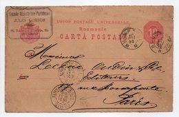 - CARTE POSTALE GRANDE BIBLIOTHÈQUE PARISIENNE JULES GERSON, BUCAREST Pour PARIS 18.5.1892 - - Entiers Postaux