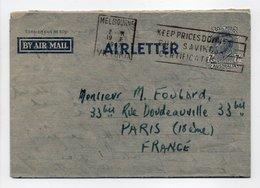 - AIRLETTER MELBOURNE (Australie) Pour PARIS (France) 19.8.1947 - - Entiers Postaux