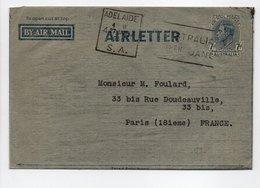 - AIRLETTER ADELAIDE (Australie) Pour PARIS (France) 27.1.1950 - - Entiers Postaux