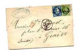 Lettre Cachet  Losange Lyon  Sur Ceres + Geneve + PD Rouge - Marcophilie (Lettres)