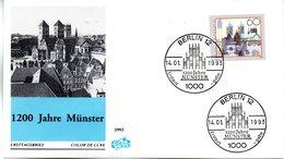 """BRD Schmuck-FDC """"1200 Jahre Münster"""" Mi. 1645 ESSt 14.1.1993 BERLIN 12 - FDC: Sobres"""