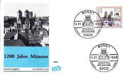 """BRD Schmuck-FDC """"1200 Jahre Münster"""" Mi. 1645 ESSt 14.1.1993 BONN 1 - FDC: Sobres"""
