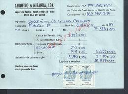 DOCUMENT COMMERCIAL 1981 DE CARNEIRO & MIRANDA GIAO VILA DO CONDE SUR TIMBRES FISCAUX DU PORTUGAL : - Fiscaux