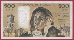 "500 Francs ""Pascal"" Du 05/09/1974.B----VF/SUP--ALPH.B.42 - 1962-1997 ''Francs''"