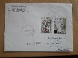 Enveloppe De L'Albanie Envoyée En Argentine Avec Des Timbres Modernes 2007 - Albanie