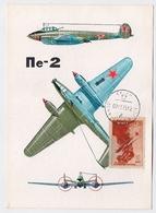 CARTE MAXIMUM CM Card USSR RUSSIA Aviation AIR FORCE Plane PE-2 - 1923-1991 URSS
