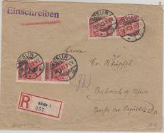 DR-Infla - 2x10 Mio. Korbdeckel U.a. Einschreibebrief Köslin - Biebrich 30.10.23 - Deutschland