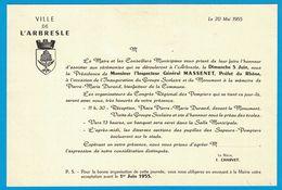 1955 VILLE DE L'ARBRESLE Mr L'INPECTEUR GENERAL MASSENET PREFET DU RHONE LE MAIRE J. CHARVET INAUGURATION GROUPE & - Publicités
