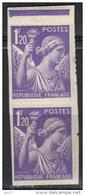 France Variété De Dentelure  N° 651 ** - Curiosities: 1941-44 Mint/hinged