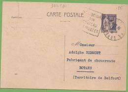 "CP Entier Type Paix 363-CP1 55c N°830 De Montbéliard ""Epicerie WITTMER Et BRAILLARD"" à BOTANS 17/09/1938 - Standard Postcards & Stamped On Demand (before 1995)"