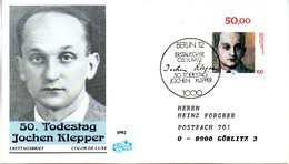 """BRD Schmuck-FDC """"50.Todestag Von Jochen Klepper"""" Mi. 1643 ESSt 5.11.1992 BERLIN 12 - [7] Federal Republic"""
