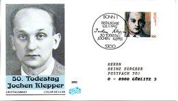 """BRD Schmuck-FDC """"50.Todestag Von Jochen Klepper"""" Mi. 1643 ESSt 5.11.1992 BONN 1 - [7] Federal Republic"""