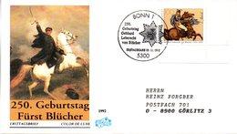 """BRD Schmuck-FDC """"250.Geburtstag Von Gebhard Leberecht Fürst Blücher Von Wahlstatt"""" Mi. 1641 ESSt 5.11.1992 BONN 1 - [7] Federal Republic"""