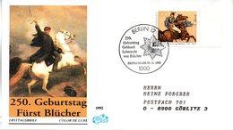 """BRD Schmuck-FDC """"250.Geburtstag Von Gebhard Leberecht Fürst Blücher Von Wahlstatt"""" Mi. 1641 ESSt 5.11.1992 BERLIN 12 - [7] Federal Republic"""