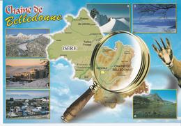Dpt 38 CPM, Multivues Chaine De Belledonne  Contour Géographique. Non écrite Flash Cartes 38000024 - Mapas