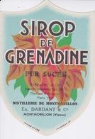 ETIQUETTE - ALCOOL - DISTILLERIE DE MONTMORILLON VIENNE - SIROP DE GRENADINE  PUR SUCRE - Labels