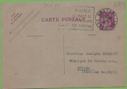"""CP Entier Type Paix 281-CP1 40c N°538 De Montbéliard  """"Epicerie WITTMER Et BRAILLARD"""" à BOTANS 27/01/36 - Entiers Postaux"""