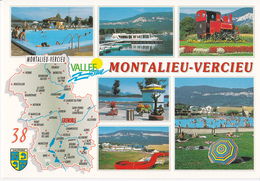 Dpt 38 CPM, Multivues Montalieu Vercieu Contour Géographique. Non écrite Cellard I 558724 - Mapas