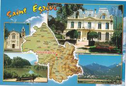 Dpt 38 CPM, Multivues Saint Egréve  Contour Géographique. Non écrite Flash Cartes 38000321 - Mapas