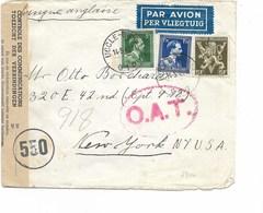 SH 0319. N° 642-646-688A UCCLE 1 - 14.5.45 S/L. AVION V. New York. Contrôle Des Communications 550 + O.A.T. - WW II