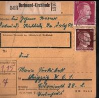 ! 1943 Paketkarte Deutsches Reich, Dortmund Kirchlinde Nach Leipzig, Zusammendrucke - Covers & Documents