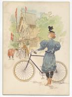 DENMARK Signed Artist Paul Fischer Original Greeting Card C.1900 Girl With Bike S. Friedländer # 504 - Dänemark
