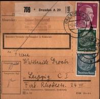 ! 1942 Paketkarte Deutsches Reich, Dresden Nach Leipzig, Zusammendrucke - Covers & Documents