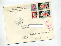 Lettre Recommandée Paris 96 Sur Decaris Coty Azur - Marcophilie (Lettres)