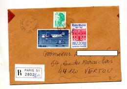 Lettre Recommandée Paris 51 Sur Pasteur Farman - Marcophilie (Lettres)