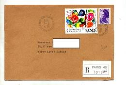 Lettre Recommandée Paris 45 Sur Tinguely Marcassite - Marcophilie (Lettres)