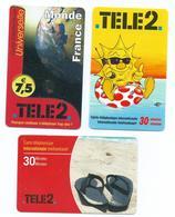 Lot De 3 Cartes TELE2 Recharge 30 Minutes 09/2005 Et 09/2006 Et 7.5€ -Sandales, Bouée, ... - Bon état -Scan Recto-Verso - Telecom Operators