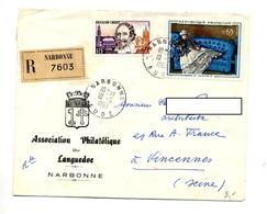 Lettre Recommandée Narbonne Sur Manet Groot - Marcophilie (Lettres)