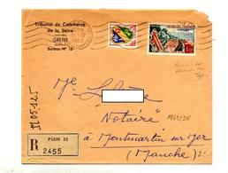 Lettre Recommandée Flamme Muette Paris 32 Sur Touquet - Marcophilie (Lettres)
