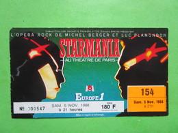 Billet Concert  STARMANIA - Samedi 5 Novembre 1988 - PARIS - Tickets D'entrée