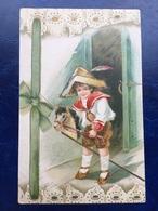 """Cpa ---""""Enfant Jouant Sur Son Cheval Bâton """"--(1015)-glitters - Szenen & Landschaften"""