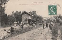 CPA:CRUGNY (51) GARE C.B.R. TRAIN EN GARE.ÉCRITE - France