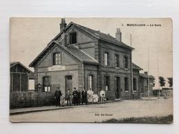 Ak Marcelcave La Gare Deutsche Feldpost Somme - Frankreich