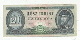 Billet , Hongrie ,  Magyar Nemzeti Bank , 20 Forint, 1965 ,  2 Scans - Hungary
