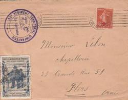 """ARGENTAN - Cachet """"32° RÉGIMENT TERRITORIAL D' INFANTERIE"""" (vignette """"les Eclaireurs De France """") - Poststempel (Briefe)"""