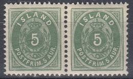 +M168. Iceland 1896. AFA 13B. Pair.  MNH(**) - 1873-1918 Dépendance Danoise
