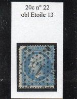 Paris - N° 22 (ld) Obl étoile 13 - 1862 Napoleon III