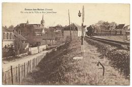 23-EVAUX-LES-BAINS-Un Coin De La Ville Et Rue Jules-César...1937  Animé  Train... - Evaux Les Bains
