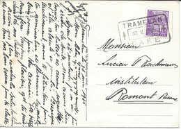 1935 Cachet De Gare Bahnhof Stempel  TRAMELAN GARE, Carte Postale Château De Chillon - Bahnwesen