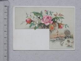 BEZIERS  CHROMO Papeterie BOUINEAU: Paysage D'Hiver Bouquet De Fleurs - LUXE Communion - Avenue De PEZENAS - Autres