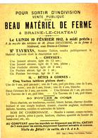 Braine-Le-Château  Vente Publique  19 Février 1912 - Vieux Papiers