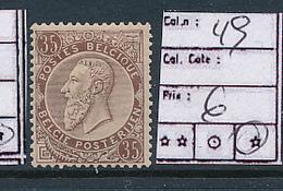 BELGIUM  COB 49 LH - 1884-1891 Leopold II