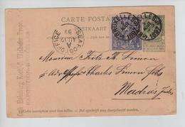 REF315/ Entier CP Illustrée N°1 + TP 71 Expo BXL C.BXL 5/8/1897 > Madras Indes C.d'arrivée Seapostoffice 17/8/97 - Ganzsachen