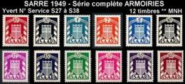 SARRE 1949 - Yv. Service 27 à 38 ** TB  Cote= 145,00 EUR - Série Armoiries Complète (12 Val.)  ..Réf.DIV20220 - Officials